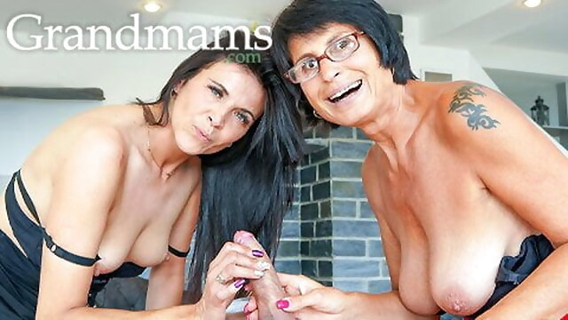 Hot Milf and Old Granny Share 1 Cock BongaCams blowjob