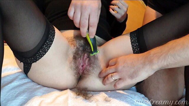 Shaving naughty teacher's pussy with intense fingering orgasm BongaCams amateur