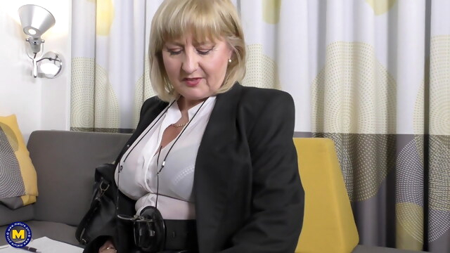 A very erotic job interview by 57yo sexy Lorna Blu BongaCams blonde