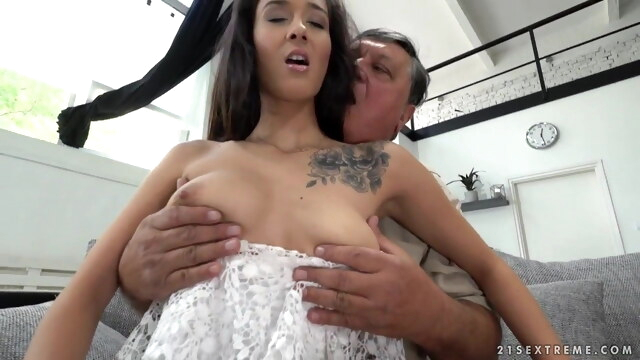 Greedy Old Man Eddie Fucks Young Darcia BongaCams old & young