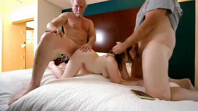 Father with a friend fucks daughter on camera. BongaCams webcam