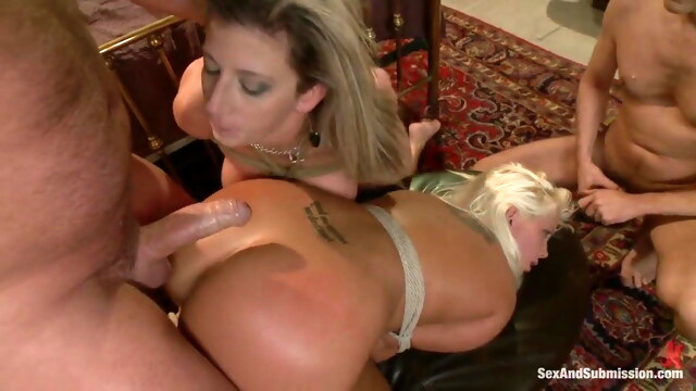 Busty blondes get dominated by 2 older men BongaCams anal