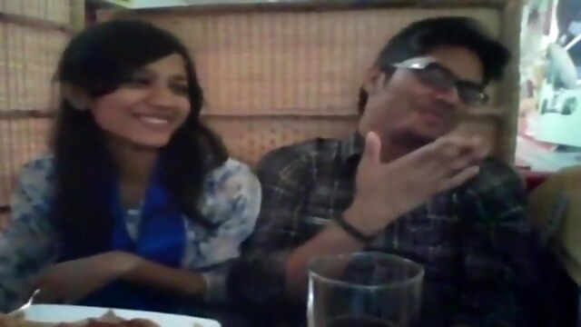 Desi pretty couple from Hyderabad being romantic in restaurant BongaCams asian