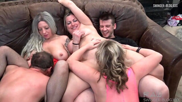 Four horny sluts sucking and fucking at amateur swinger orgy BongaCams amateur