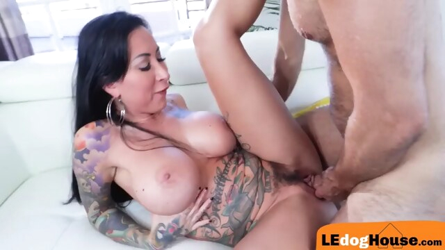 Busty tattooed babe sucks off before riding cock BongaCams big-tits